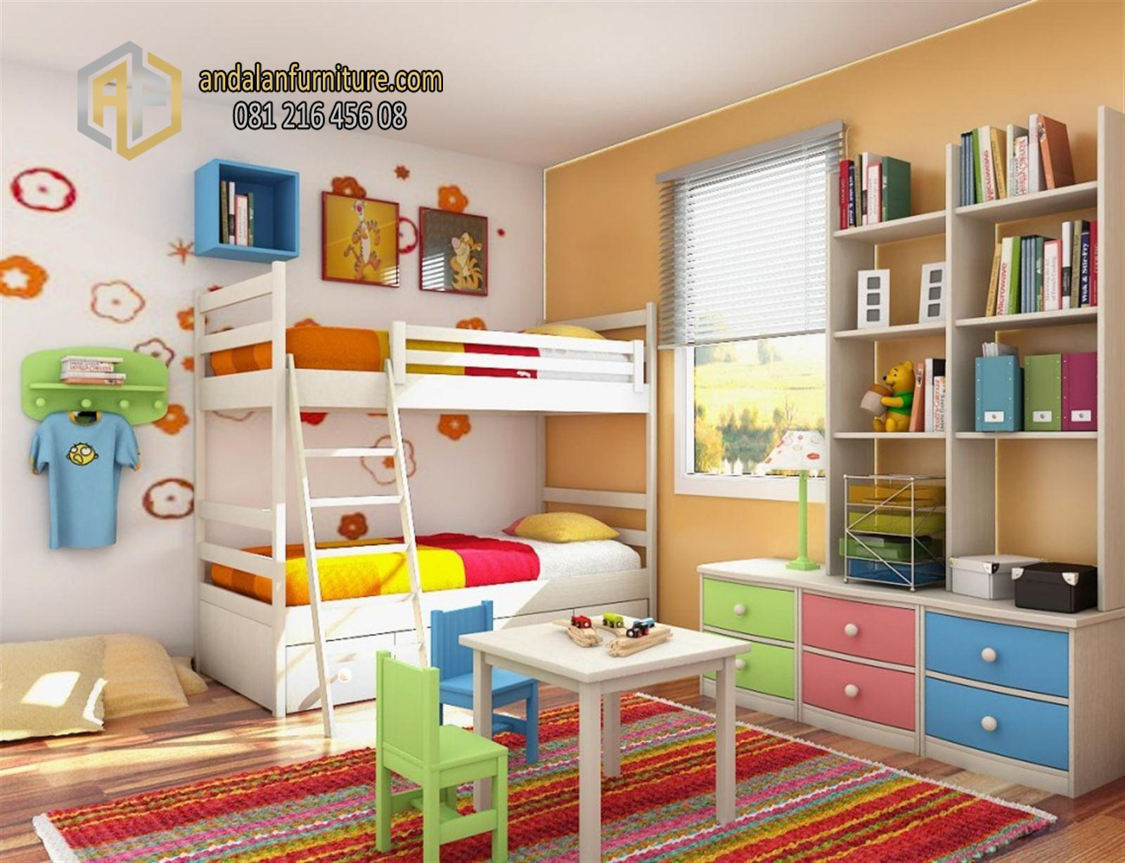 colorful bed room decor for kids