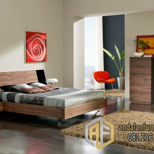 set kamar ranjang klasik minimalis finishing natural jati