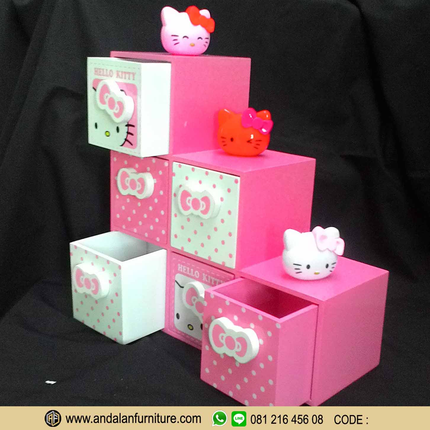 Aksesoris Model Lemari Buku Rak Minimalis Hello Kitty